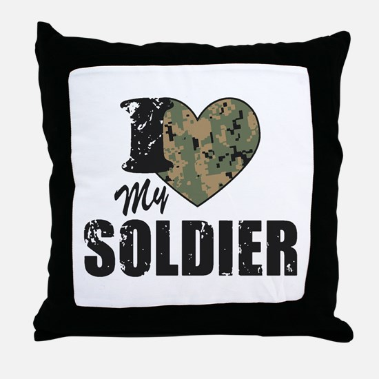 I Heart My Soldier Throw Pillow