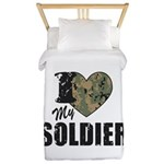 I Heart My Soldier Twin Duvet