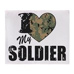 I Heart My Soldier Throw Blanket