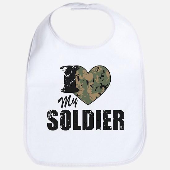 I Heart My Soldier Bib