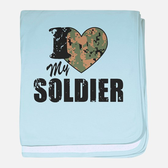 I Heart My Soldier baby blanket