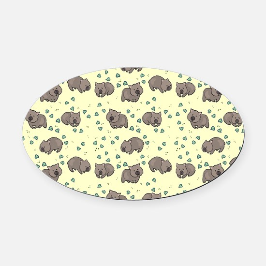 Wombat Oval Car Magnet