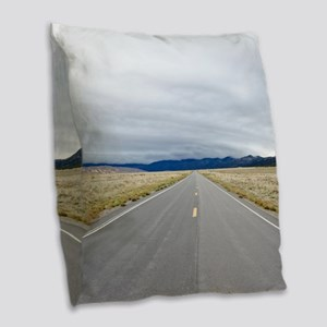 Open Roads Burlap Throw Pillow