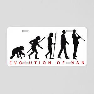 evolution of man clarinet p Aluminum License Plate