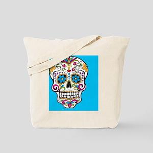 Sugar Skull Halloween Blue Tote Bag