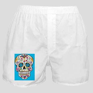 Sugar Skull Halloween Blue Boxer Shorts