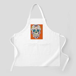 Sugar Skull Halloween Orange Apron
