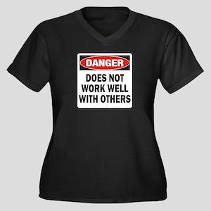 Work Well Women's Plus Size V-Neck Dark T-Shirt
