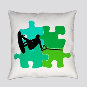 WAKEBOARD PUZZLED Everyday Pillow