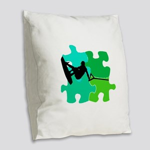 WAKEBOARD PUZZLED Burlap Throw Pillow