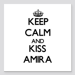 "Keep Calm and kiss Amira Square Car Magnet 3"" x 3"""