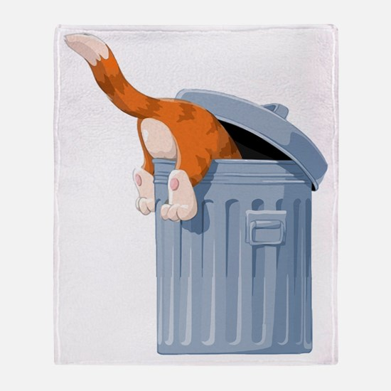 Cat in Trash Can Throw Blanket