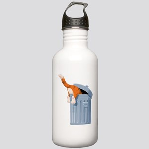Cat in Trash Can Stainless Water Bottle 1.0L