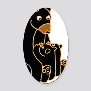 Mother Bear and Cobs Oval Car Magnet
