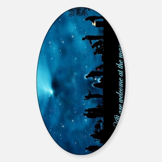 A Modern Nativity Scene Sticker (Oval)
