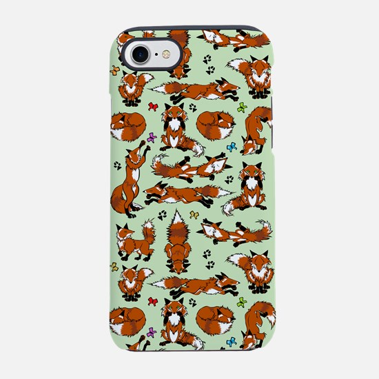 Red Foxes in Green iPhone 7 Tough Case