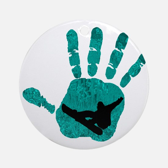 HANDS ON SNOWBOARDING Round Ornament