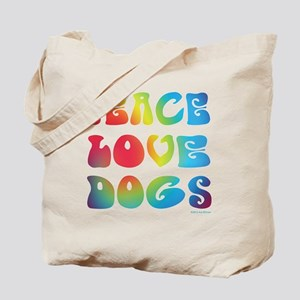 Peace Love Dogs Tiedye Tote Bag
