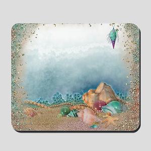 Beach sparkles with seashells Mousepad