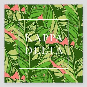 "Kappa Delta Banana Leave Square Car Magnet 3"" x 3"""