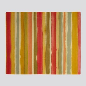 Earthy Rust Stripes Throw Blanket