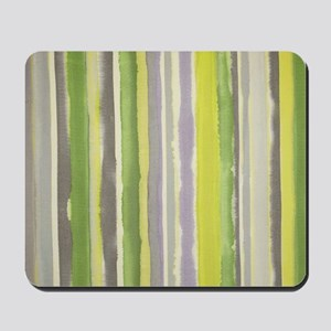 Soft Greens and Gray Watercolor Stripes Mousepad