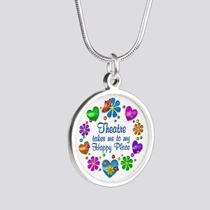 Theatre My Happy Place Silver Round Necklace