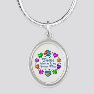 Theatre My Happy Place Silver Oval Necklace