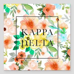 "Kappa Delta Floral Square Car Magnet 3"" x 3"""