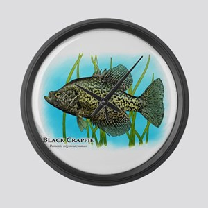 Black Crappie Large Wall Clock