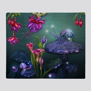 Fuchsia Faerie and Fantasy Garden Throw Blanket
