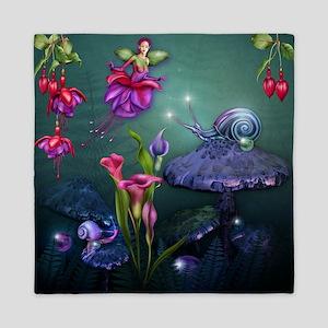 Fuchsia Faerie and Fantasy Garden Queen Duvet