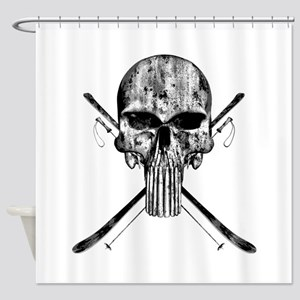 Ski Skull Shower Curtain