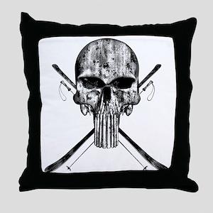 Ski Skull Throw Pillow