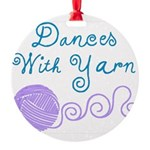 Dances With Yarn Round Ornament