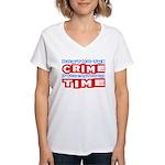 CrimeTime2-w Women's V-Neck T-Shirt