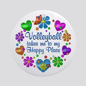Volleyball My Happy Place Round Ornament