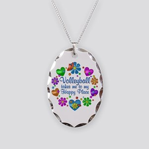 Volleyball My Happy Place Necklace Oval Charm
