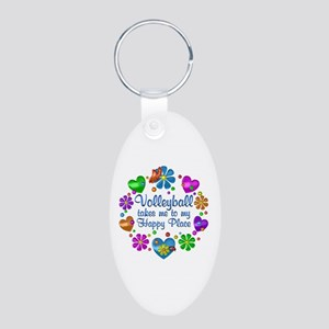 Volleyball My Happy Place Aluminum Oval Keychain
