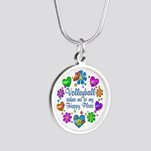 Volleyball My Happy Place Silver Round Necklace