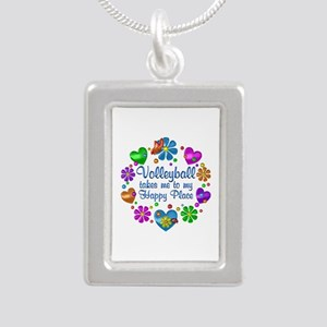 Volleyball My Happy Plac Silver Portrait Necklace