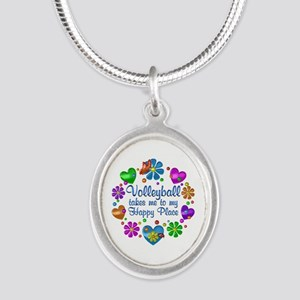 Volleyball My Happy Place Silver Oval Necklace