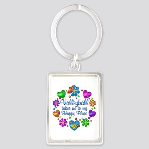 Volleyball My Happy Place Portrait Keychain