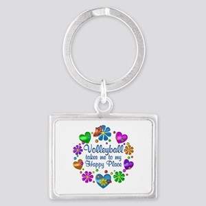 Volleyball My Happy Place Landscape Keychain