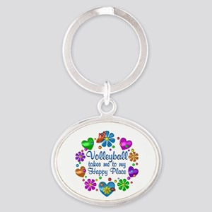 Volleyball My Happy Place Oval Keychain