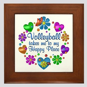 Volleyball My Happy Place Framed Tile