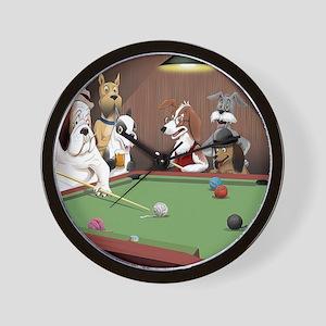 Cartoon Pool Dogs Wall Clock