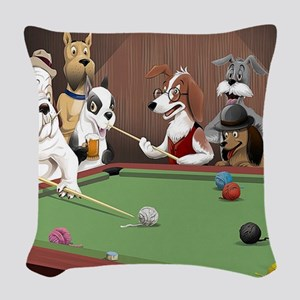 Cartoon Pool Dogs Woven Throw Pillow