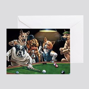 Dogs Playing Billiards Greeting Card