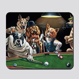 Dogs Playing Billiards Mousepad